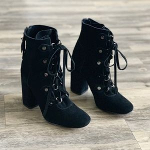 Splendid Lace-up Suede Black Block Heel Booties